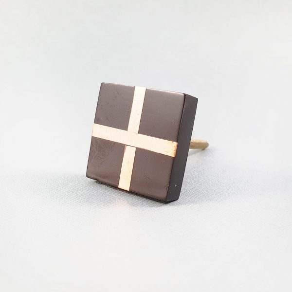 black square with copper cross knob 9 600x600 - Black Resin and Copper Intersect Knob