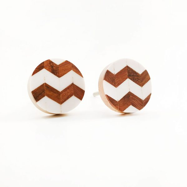 chevron wood and resin knob 1 600x600 - Round Chevron Inlay Knob