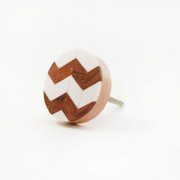 chevron wood and resin knob 10 600x600 - Round Chevron Inlay Knob