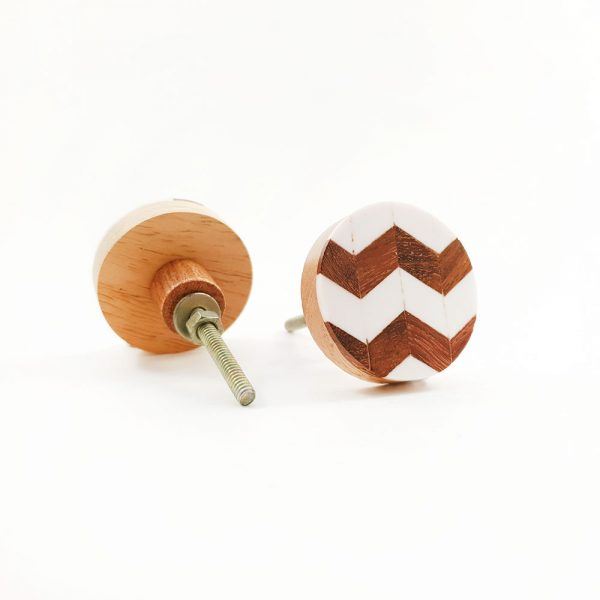 chevron wood and resin knob 2 600x600 - Round Chevron Inlay Knob