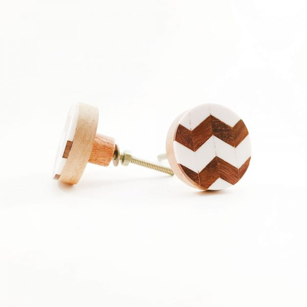 chevron wood and resin knob 3 600x600 - Round Chevron Inlay Knob