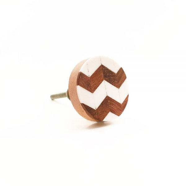 chevron wood and resin knob 4 600x600 - Round Chevron Inlay Knob