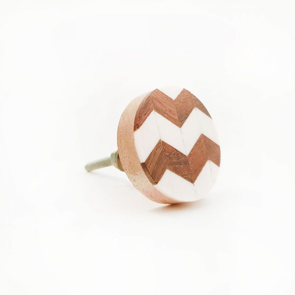 chevron wood and resin knob 5 600x600 - Round Chevron Inlay Knob