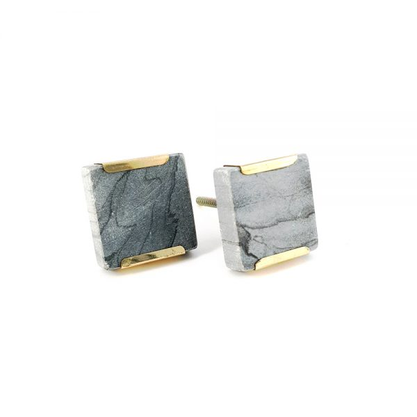 grey square marble with gold detail 1 600x600 - Grey Square Knob with Brass Trim