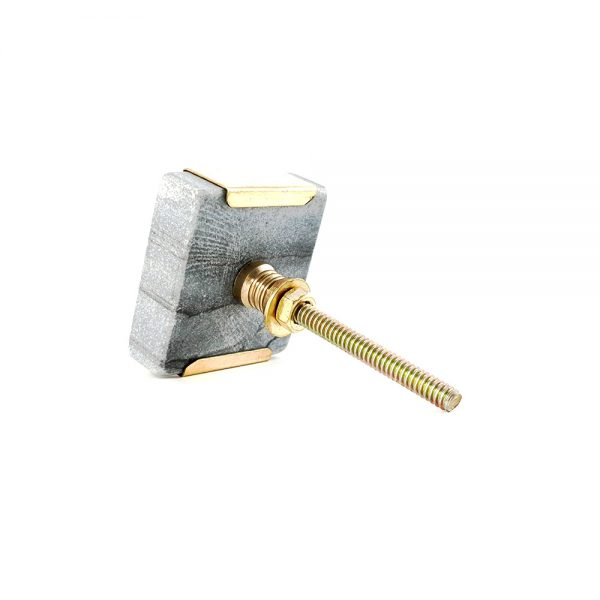 grey square marble with gold detail 10 600x600 - Grey Square Knob with Brass Trim