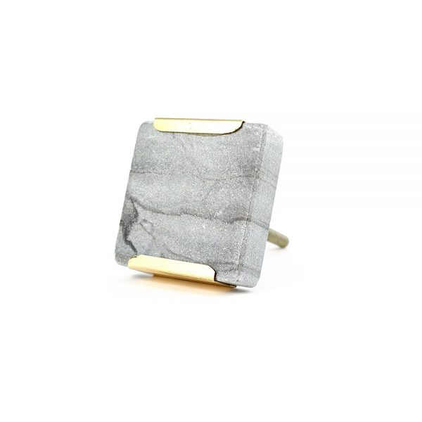 grey square marble with gold detail 11 600x600 - Grey Square Knob with Brass Trim