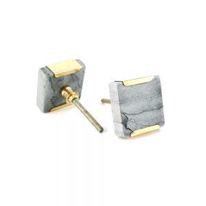 grey square marble with gold detail 2 300x300 - Grey Square Knob with Brass Trim