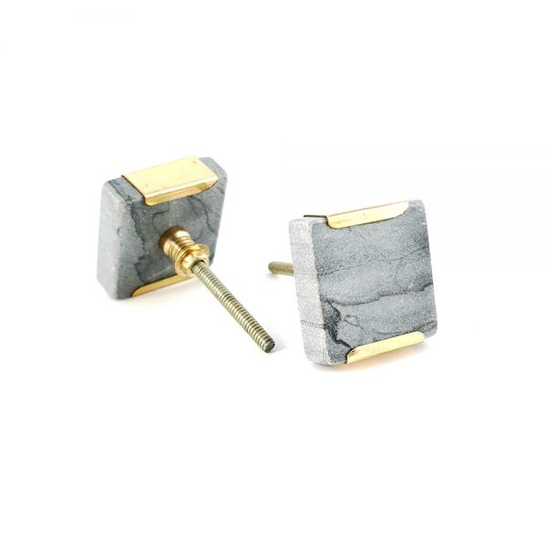 grey square marble with gold detail 2 600x600 - Grey Square Knob with Brass Trim