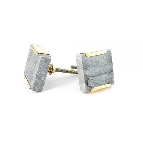 grey square marble with gold detail 3 600x600 - Grey Square Knob with Brass Trim