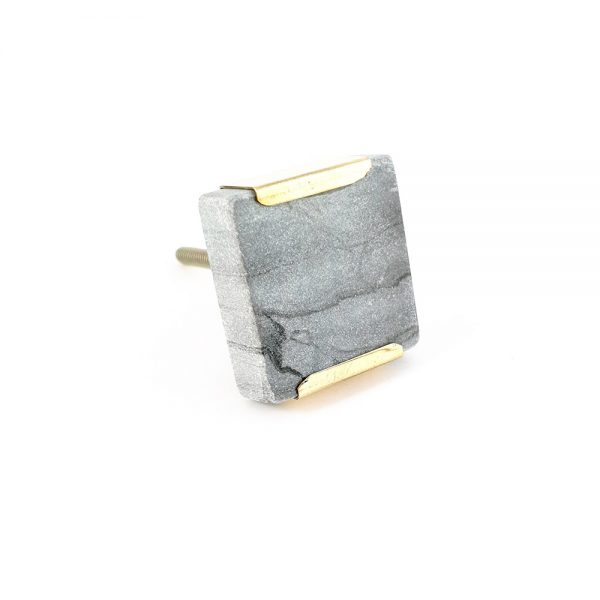 grey square marble with gold detail 4 600x600 - Grey Square Knob with Brass Trim