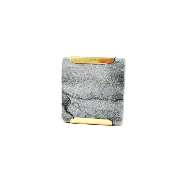 grey square marble with gold detail 5 600x600 - Grey Square Knob with Brass Trim