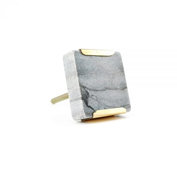grey square marble with gold detail 6 600x600 - Grey Square Knob with Brass Trim