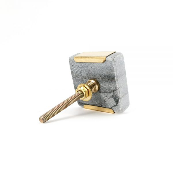 Grey Oblong Knob with Brass Trim