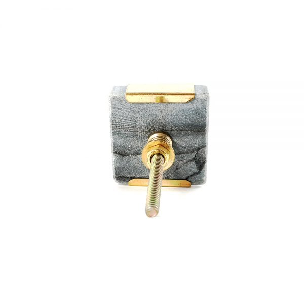 grey square marble with gold detail 9 600x600 - Grey Square Knob with Brass Trim