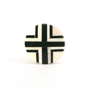 Round Black and White Inlay Knob