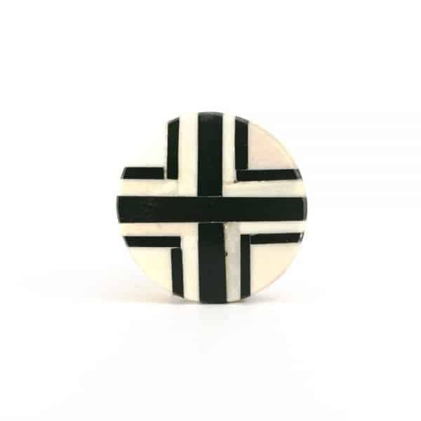Round Green and White Inlay Knob