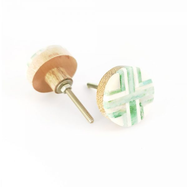 inlay green knob 1 600x600 - Round Green and White Inlay Knob