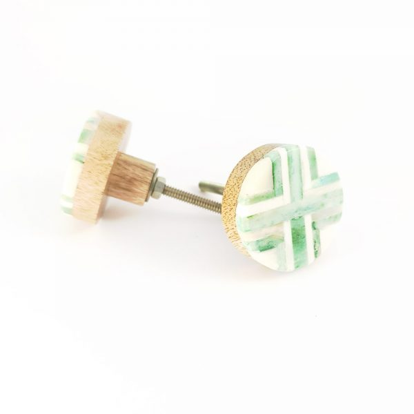 inlay green knob 2 600x600 - Round Green and White Inlay Knob