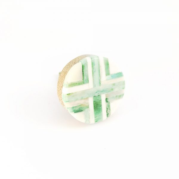 inlay green knob 4 600x600 - Round Green and White Inlay Knob
