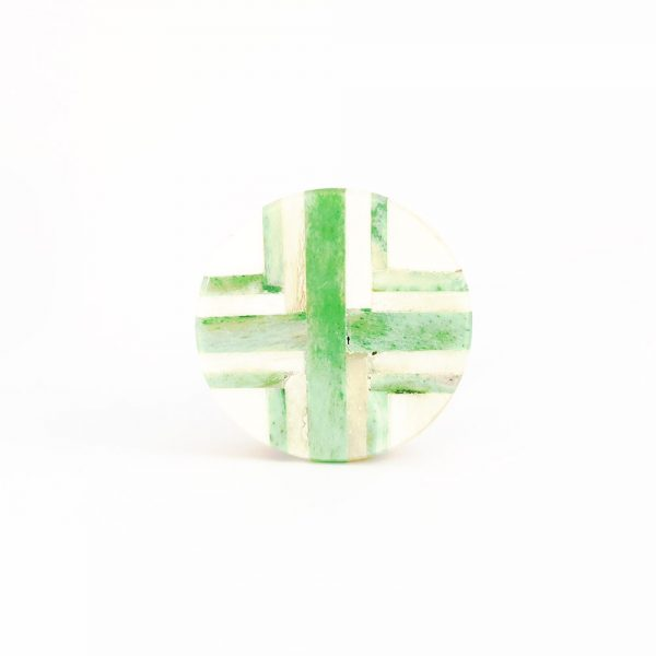 Round Green and White Inlay Knob