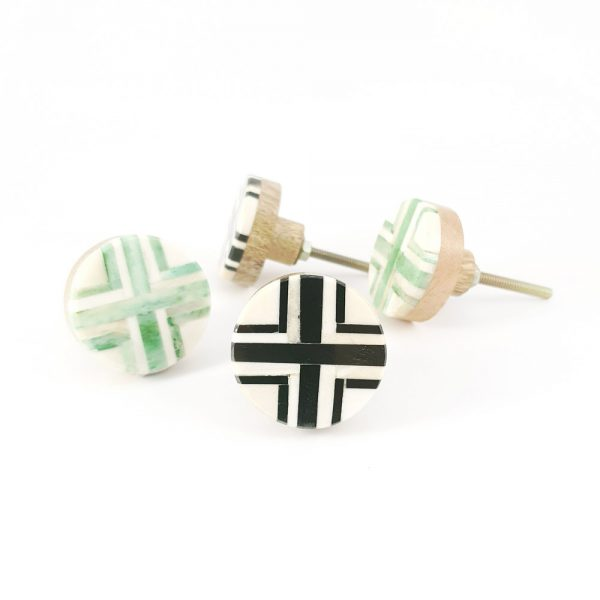 inlay knob group 1 600x600 - Round Green and White Inlay Knob