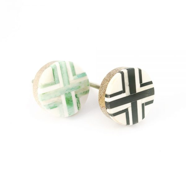 inlay knob group 2 600x600 - Round Green and White Inlay Knob