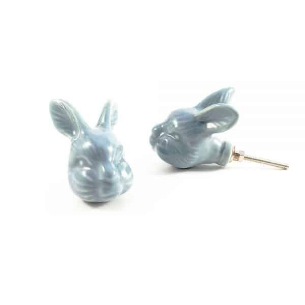 large rabbit ceramic knob 2 600x600 - Large Rex Rabbit Knob