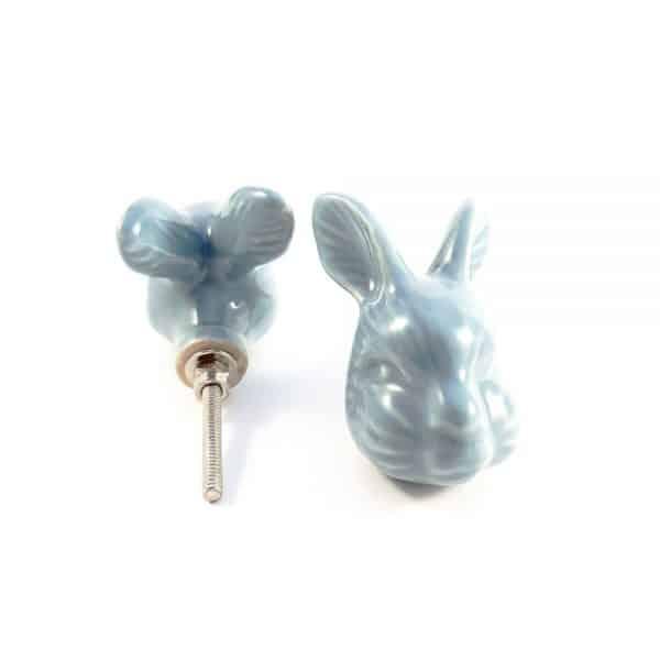 large rabbit ceramic knob 3 600x600 - Large Rex Rabbit Knob