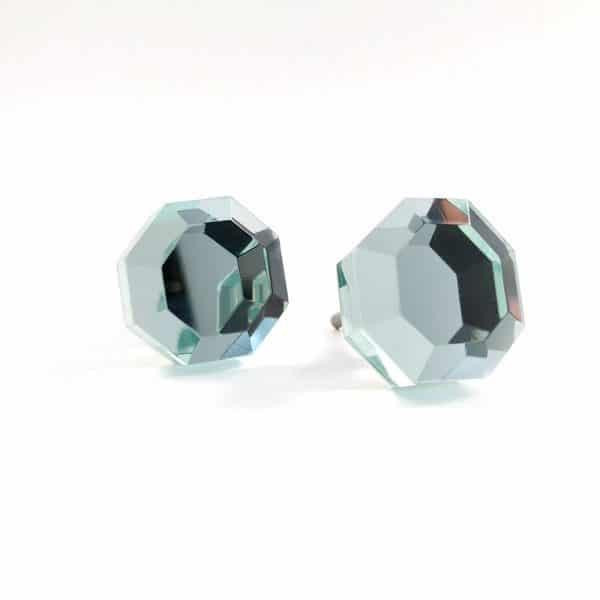 Mirrored Octagon Glass Knob