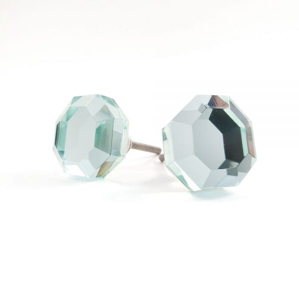 mirrored glass knob 2 600x600 - Mirrored Octagon Glass Knob
