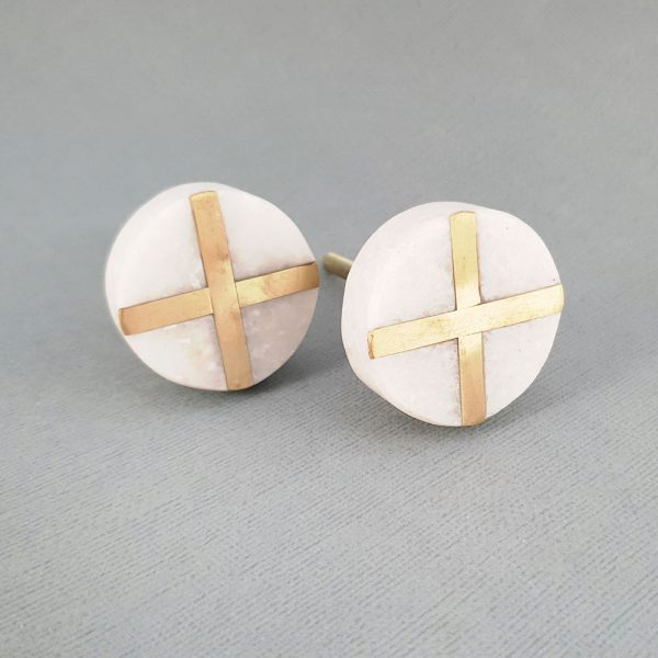 White Round Marble and Brass Intercross Knob