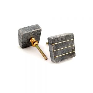 square grey marble and brass line detail knob 2 300x300 - Marble and Brass Lined Knob