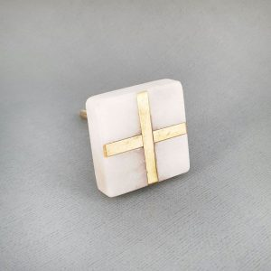 White Square Marble and Brass Intercross Knob