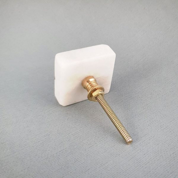 square white marble and brass cross knob 7 600x600 - White Square Marble and Brass Intercross Knob