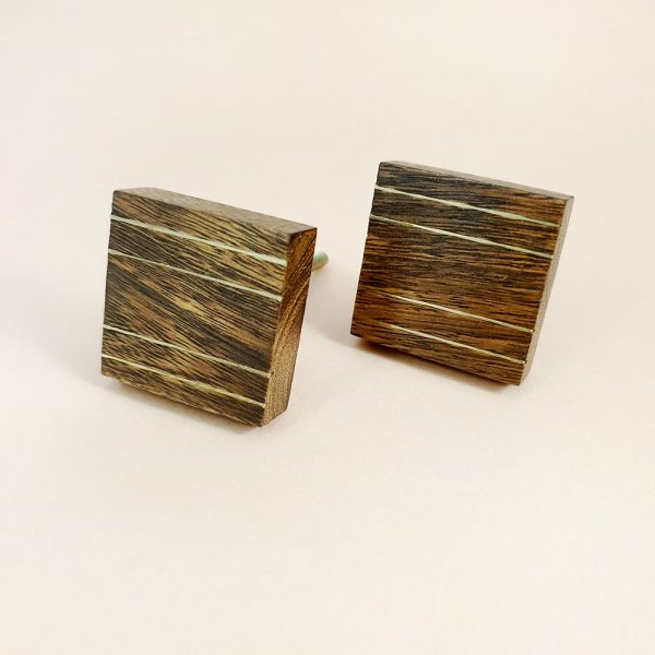 square wood and brass line detail knob 2 600x600 - Square Wood and Brass Lined Knob