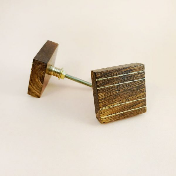 square wood and brass line detail knob 3 600x600 - Square Wood and Brass Lined Knob