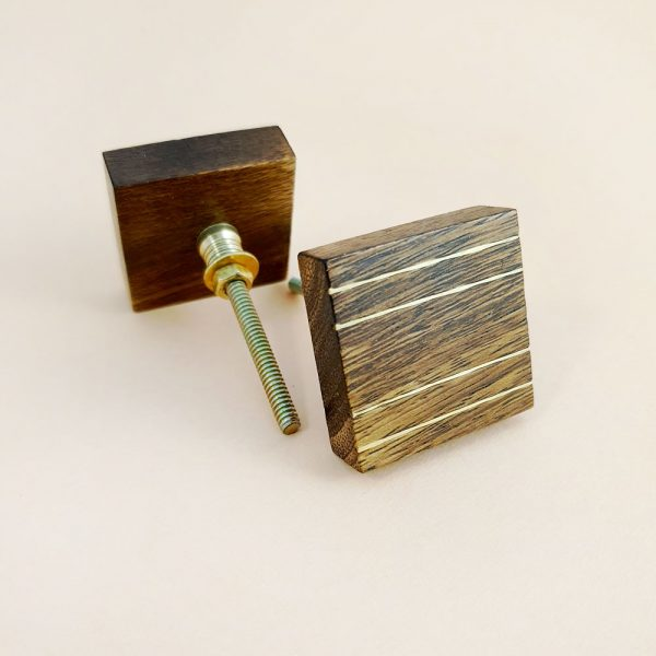 square wood and brass line detail knob 4 600x600 - Square Wood and Brass Lined Knob