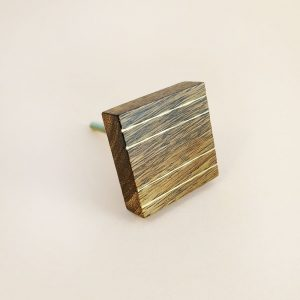 Square Wood and Brass Lined Knob