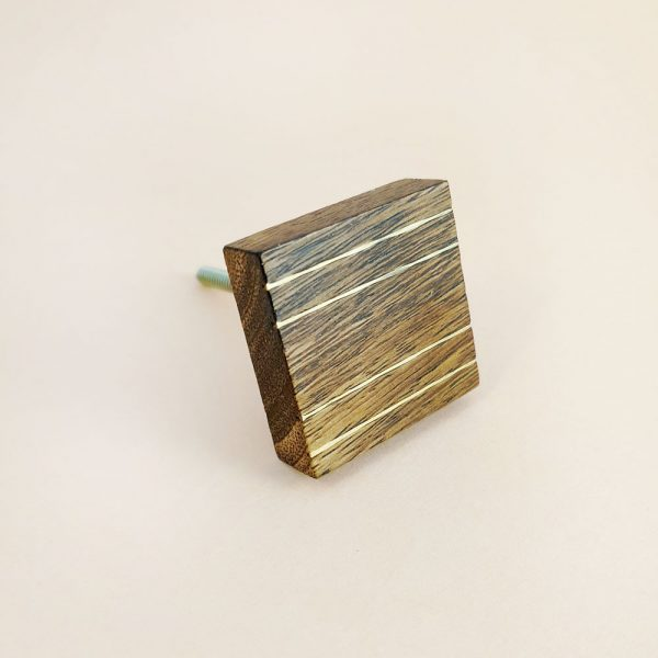 square wood and brass line detail knob 5 600x600 - Square Wood and Brass Lined Knob