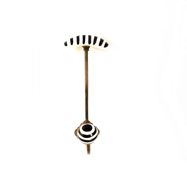 Black and White hat and coat wall hook 1 600x600 - Striped Traditional Hat and Coat Hook