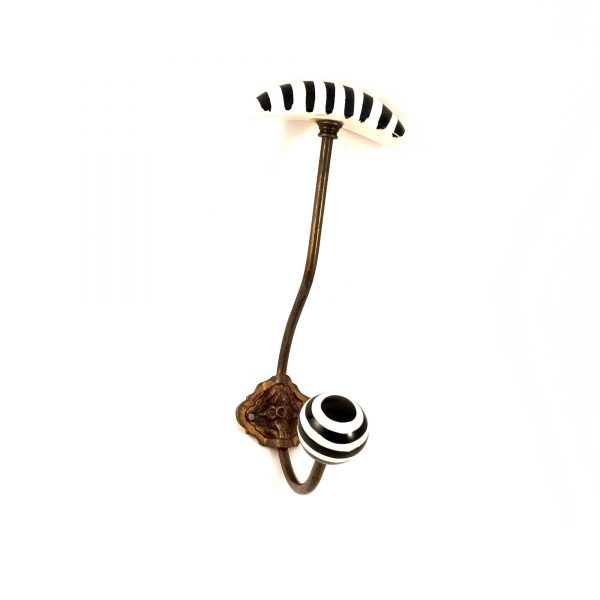 Black and White hat and coat wall hook 2 600x600 - Striped Traditional Hat and Coat Hook