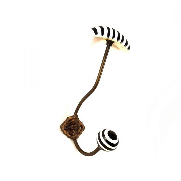 Black and White hat and coat wall hook 3 600x600 - Striped Traditional Hat and Coat Hook