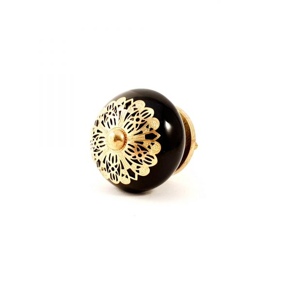 Black and gold etched plate knob 11 600x600 - Black and Gold Rosette Knob