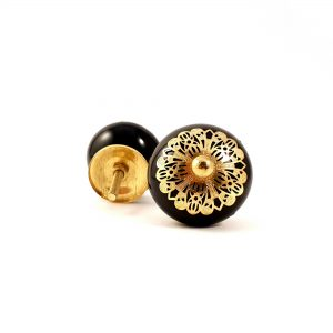 Black and gold etched plate knob 2 300x300 - Black and Gold Rosette Knob
