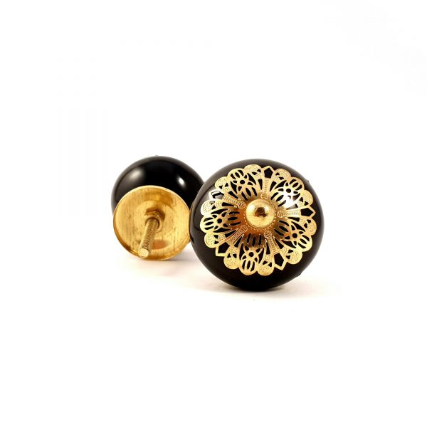 Black and gold etched plate knob 2 600x600 - Black and Gold Rosette Knob