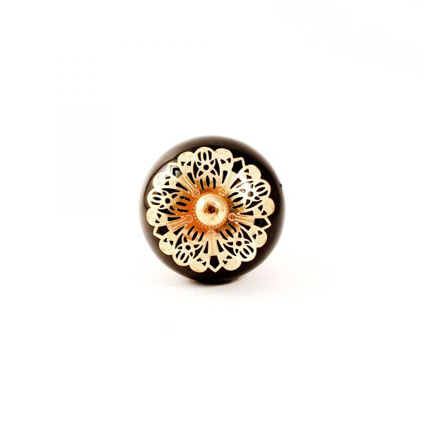 Black and gold etched plate knob 5 600x600 - Black and Gold Rosette Knob