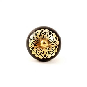 Black and gold etched plate knob 6 300x300 - Black and Gold Rosette Knob