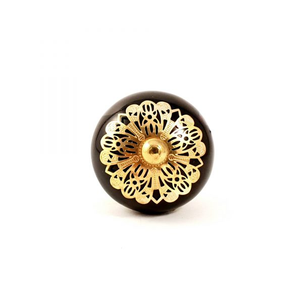 Black and gold etched plate knob 6 600x600 - Black and Gold Rosette Knob