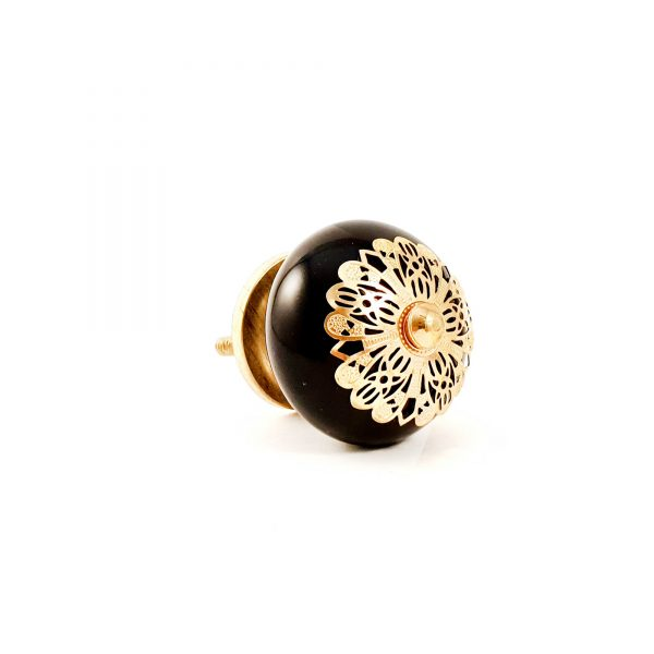Black and gold etched plate knob 7 600x600 - Black and Gold Rosette Knob
