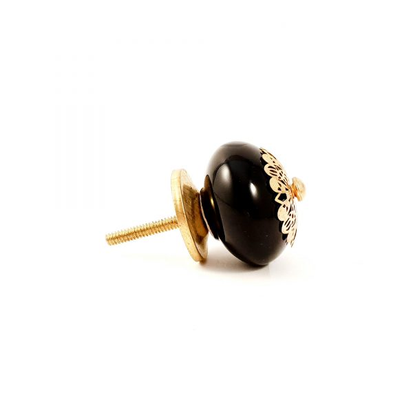 Black and gold etched plate knob 8 600x600 - Black and Gold Rosette Knob